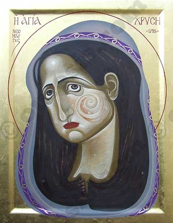 St Chrysi, egg tempera on prepared wood, 45 X 35 cm, 2012.
