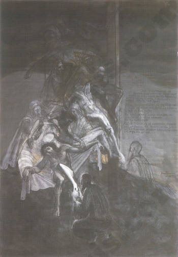 Deposition, mixed media on paper, 123 X 86 cm, 2005.