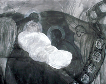 Burial, mixed media on paper (detail), 83 X 59 cm, 2005