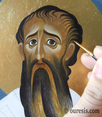 St Basil the Great, egg tempera on prepared wood (detail), 36 X 26 cm, 2016.