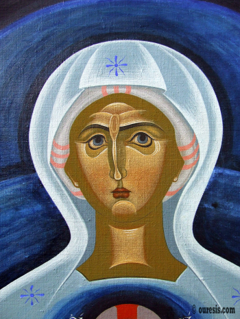 Platytera Ouranon (She who is wider than the heavens), detail, egg tempera on canvas, 150 Χ 120 cm, 2011.