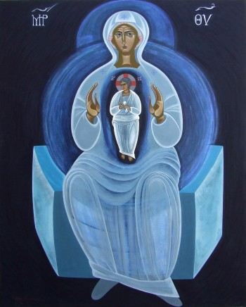 Platytera Ouranon (She who is wider than the heavens), egg tempera on canvas, 150 Χ 120 cm, 2011.
