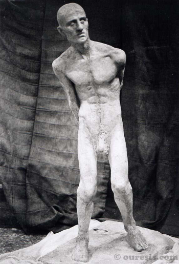 Untitled (life size naked human figure / self portrait). Plaster cast from clay sculpture, 1998.