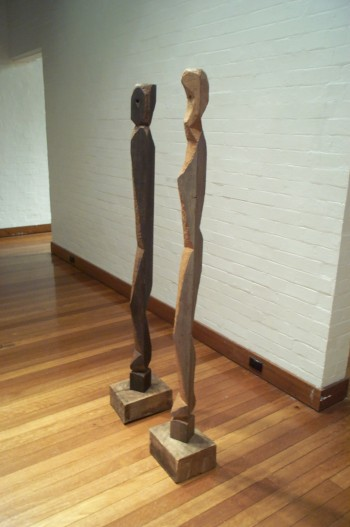 Adam and Eve, hardwood. Photograph from a solo exhibition entitled The Movement of the Body in a Stationary Object, Ivan Dougherty Gallery, Sydney, Australia 2002.