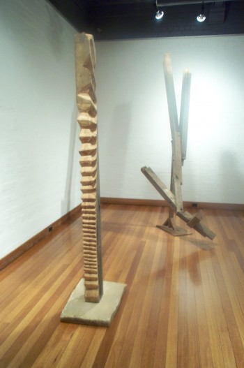 Terirem (left) and The Fall (right). Photograph from a solo exhibition entitled The Movement of the Body in a Stationary Object, Ivan Dougherty Gallery, Sydney, Australia 2002.