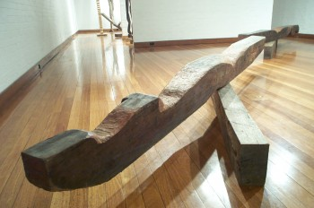 Ballerina Splits, hardwood. Photograph from a solo exhibition entitled The Movement of the Body in a Stationary Object, Ivan Dougherty Gallery, Sydney, Australia 2002.