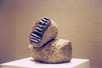 Aboriginal Elder, granite. Photograph from a group exhibition at the Ivan Dougherty Gallery, Sydney, Australia 2002.