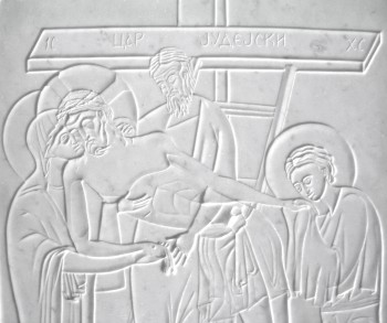 Deposition, marble relief (detail), 2000.